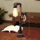 Retro Industrial Vintage Steampunk Water Pipe Table Lamp Clock Desk Read Room