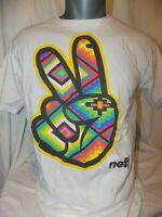 NEFF MEN'S WHITE GRAPHIC T-SHIRT W/ PEACE SIGN GRAPHIC M Medium