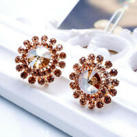 1 Pair Elegant Women Girls Rhinestone Crystal Champagne Flower Ear Stud Earrings