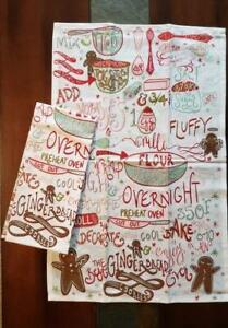 Set of 2 NWT DII 100% Cotton Gingerbread COOKIE Recipe CHRISTMAS Kitchen TOWEL