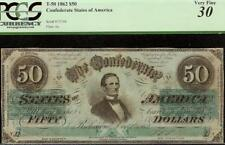 1862 $50 DOLLAR BILL CONFEDERATE STATES CURRENCY CIVIL WAR NOTE MONEY T-50 PCGS