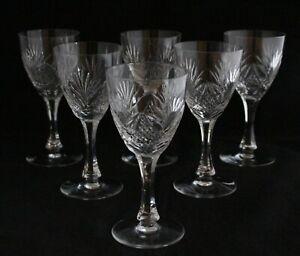Antique Set 6 Holmegaard Lubin shape Cut Glass Crystal Wine Goblets