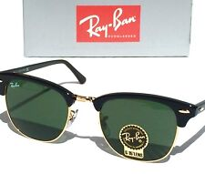 704997a992e NEW  Ray Ban CLUBMASTER Black Gold polished Green G15 Lens 49mm Sunglass RB  3016