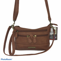 STONE & CO. Crossbody OR Wristlet Or shoulder Bag Small Brown Leather  6 X 9