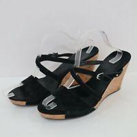 UGG Sandals Mules Wedge Heel Womens 12 Suede Leather Cork Black Platform Jullita