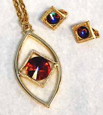 VOLCANO Rivoli Auroa Borealis Rhinestone Necklace & Earrings Set Sarah Coventry