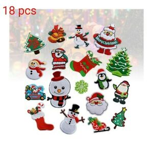 18pcs Iron on Patches Christmas Theme Embroidered Patches Applique Motif Sew On