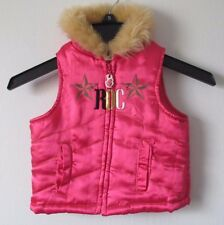 Baby Girl 12M 12 Months Pink Rocawear Faux Fur Trim Puffer Vest Jacket Zip Up