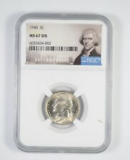 RARE - Graded MS67 1940 Jefferson Nickel 5FS - Graded By NGC *965