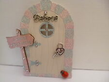 PINK SILVER & CREAM BELIEVE GLITTER EDGE FAIRY DOOR + FAIRY SIGN