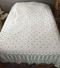 "HUGE vintage CHENILLE POPCORN BEDSPREAD Green White 105"" x 90"" Queen Coverlet"