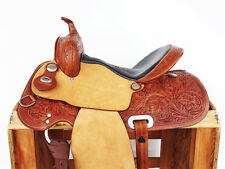 """15"""" ROUGH OUT WESTERN LEATHER COWBOY HORSE PLEASURE TRAIL RANCH SADDLE TACK"""