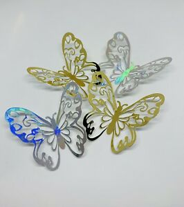 3 BUTTERFLY MEDIUM SIZE GLITTER FOIL CAKE CUPCAKE TOPPERS SILVER GOLD TOPPER