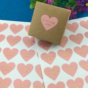 100PCS/Lot Handmade With Love Heart-shaped Design Stickers Golden Sticker Labels