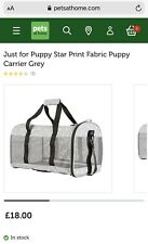 Puppy / Cat Carrier - 'Just For Puppy' star print Grey
