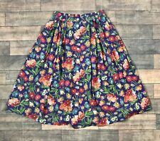 Vintage Liz Sport Floral Button Front Midi Skirt Womens Size Medium