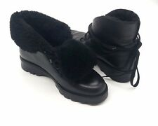 LA CANADIENNE Size 6.5 Black Flat Lace Up Fold Over Fur Lined Ankle Boots Bootie