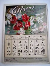 """Vintage 1899 Advertising Calendar for """"Citizens' Mutual Ins. Co. w/ Sweet Peas *"""