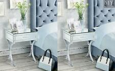 (PAIR) AURELIA Mirrored & Chrome Bedside Table