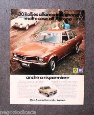 P736 - Advertising Pubblicità -1974- OPEL GM , ASCONA , 30 RALLIES ALL'ANNO