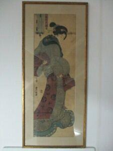 19th C JAPANESE WOODBLOCK PRINT by TOYOKUMI KUNISADA 1785-1864 GIRL in BROWN OBI