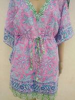 Indian Cotton Kaftan Hand Block Print Night wear Maxi Women Kimono Short CoverUp