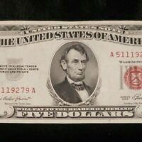 """""""Rare United States Legal Tender Currency Note"""" 1953 Red Seal $5 Bill"""
