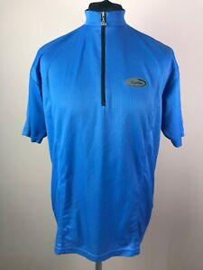 Vintage Loffler Cycling Jersey Men's Size L Blue 1/2 Zip Short Sleeve Bike Shirt