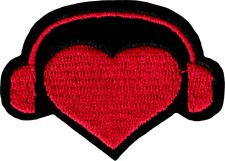 22173 Red Heart Headphones DJ Love Music Cut Out Embroidered Sew Iron On Patch