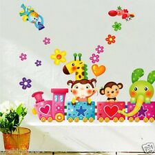 Pink Animal Train & flowers Wall Stickers Removable Home Kids Girls Room Nursery