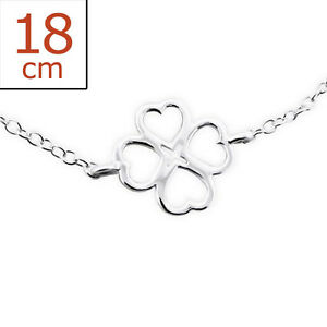 925 Sterling Silver Four Leaf Clover Bracelet