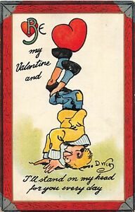 H66/ Valentine's Day Love Holiday Postcard c1910 DWIG Stand on Head Heart13