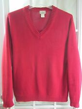 L.L.Bean Red V-Neck Long Sleeve Cotton Sweater Men M/R **Excellent**