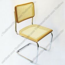 Marcel Breuer Cesca Cane Side Chair in Black w/ Chrome Finish Made in Italy