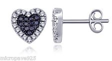 Studs Earrings Black And White Cubic Zirconia Pave Set Sterling Silver 925
