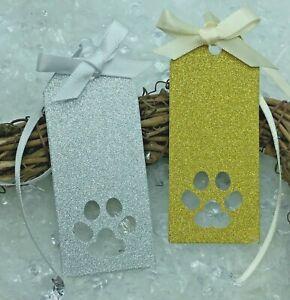 8 Pet Paw Print Gift Tags - Gold & Silver Glitter - Handmade - Cat & Dog