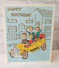 More details for vintage happy birthday forget me not car with family greeting card  (eb0308)