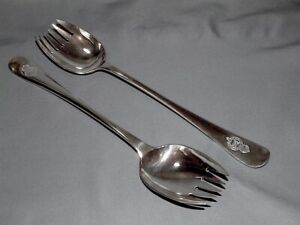 The Royal Mail S P Co Silver Plated Salad Servers - Elkington & Co 1913 & 1914