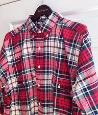 Polo Ralph Lauren Red White Green Plaid Shirt Cotton Long Sleeve 3XLB Big 3X