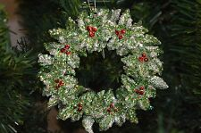 "NEW Raz 5"" Gold Glittered Holly Wreath Christmas Tree Ornament 3414184"