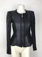 Elie Tahari Women's Size 2 Black Silver Metallic Full Zip Up Lined Crop Jacket