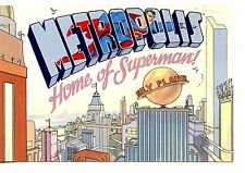 Large Letter Metropolis-Home of Superman-1998 Comic Advertising Postcard Artwork