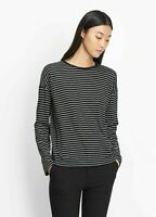 New Vince Striped Black Pencil Stripe relaxed Long Sleeve Crew Top Shirt