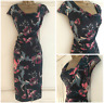 NEW EX PER UNA M&S CHARCOAL GREY PINK GREEN FLORAL PRINT RUCHED DRESS SIZE 6- 22