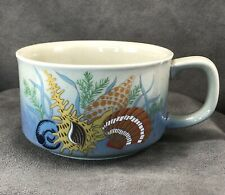 Vintage Otagiri Soup Cup Mug Bowl Seashells Shell Nautical Ocean Stoneware Japan
