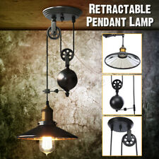 Pendant Light Fixture 1 Light Industrial Black Rustic Iron Pulley Lamp Hanging