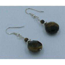 .925 Sterling Silver Faceted Natural High Grade Tiger's Eye French Hook Earrings