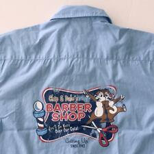 Disney World Chip & Dale Barber Shop Mens Small Blue Shirt Button Up Casual