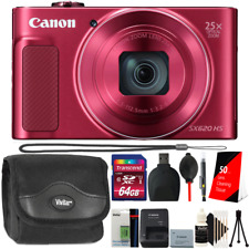 Canon PowerShot SX620 HS Digital Camera (Red) + Accessory Kit + Extra Battery