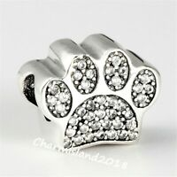 Authentic Pandora Charm 791714 Silver 925 ALE Paw Prints CZ Bead